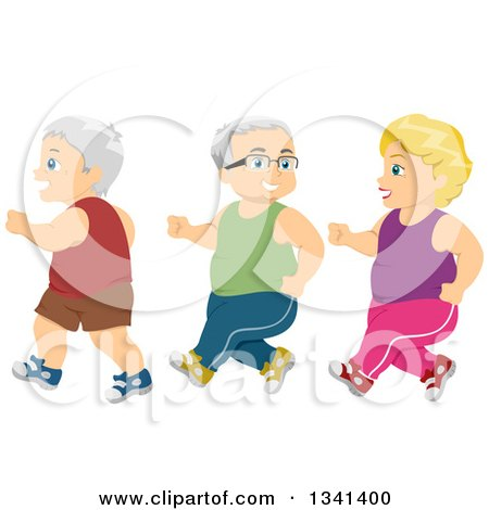 Clipart of a Senior Caucasian Women and Men Jogging for Exercise - Royalty Free Vector Illustration by BNP Design Studio