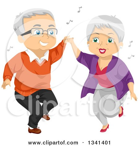 Clipart of a Senior Caucasian Couple Having Fun and Dancing - Royalty Free Vector Illustration by BNP Design Studio