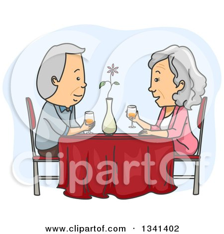 Clipart of a Cartoon Caucasian Senior Couple Having a Romantic Dinner Date - Royalty Free Vector Illustration by BNP Design Studio
