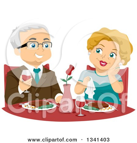 Clipart of a Happy Senior Caucasian Couple Dining at a Fine Restaurant - Royalty Free Vector Illustration by BNP Design Studio