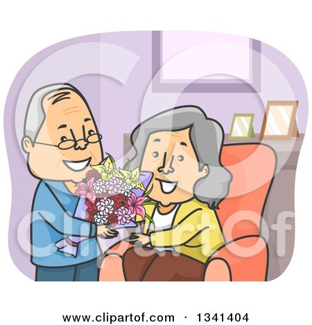 Clipart of a Cartoon Senior Caucasian Man Giving His Wife Flowers - Royalty Free Vector Illustration by BNP Design Studio