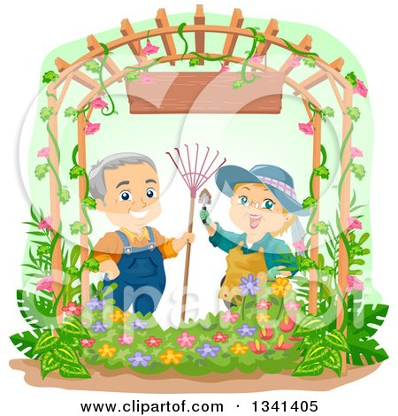 Clipart of a Happy Caucasian Senior Couple Gardening Together, Under an Arch with a Wood Sign - Royalty Free Vector Illustration by BNP Design Studio