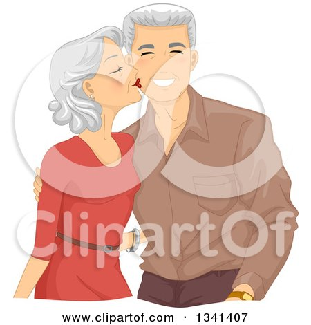 Loving Senior Caucasian Woman Kissing Her Husband on the Cheek Posters, Art Prints