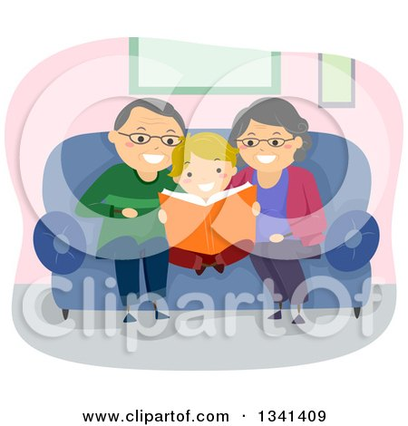 Clipart of Cartoon Senior Caucasian Grandparents Reading a Book to Their Grandson - Royalty Free Vector Illustration by BNP Design Studio