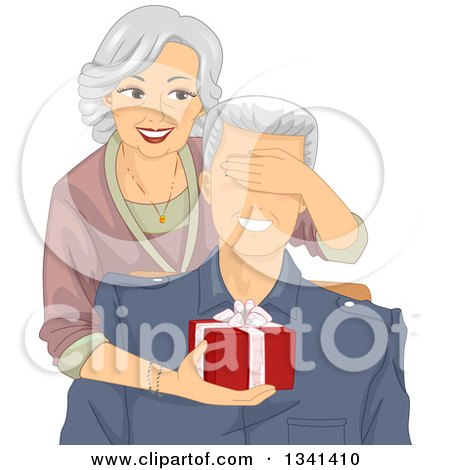 Clipart of a Happy Senior Caucasian Woman Covering Her Husband's Eyes and Surprising Him with a Gift - Royalty Free Vector Illustration by BNP Design Studio