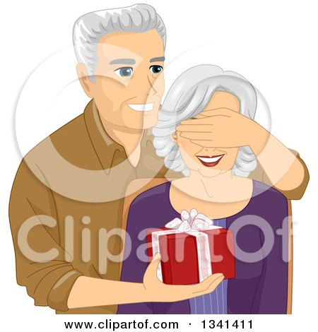 Clipart of a Happy Senior Caucasian Man Covering His Wife's Eyes and Surprising Her with a Gift - Royalty Free Vector Illustration by BNP Design Studio
