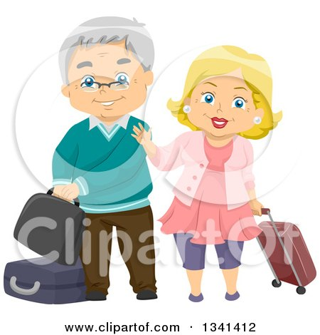 Clipart of a Happy Senior Caucasian Couple Traveling and Waving - Royalty Free Vector Illustration by BNP Design Studio
