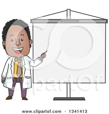 Clipart of a Cartoon Happy Black Male Doctor Pointing to a Presentation Board - Royalty Free Vector Illustration by BNP Design Studio