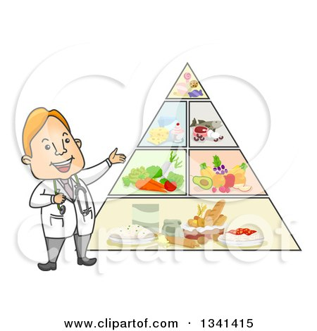 Clipart of a Cartoon Happy White Male Doctor Discussing the Food Pyramid - Royalty Free Vector Illustration by BNP Design Studio