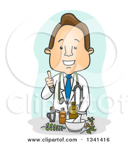 Clipart of a Cartoon Happy White Male Naturopathic Doctor Giving a Thumb up over Herbal Medicine - Royalty Free Vector Illustration by BNP Design Studio