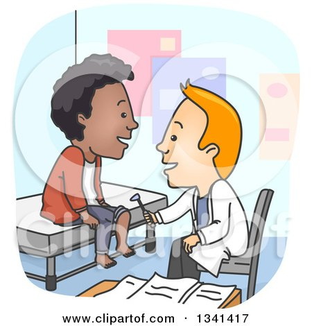 Clipart of a Cartoon Happy White Male Doctor Using a Reflec Hammer on a Black Male Patient's Knee - Royalty Free Vector Illustration by BNP Design Studio