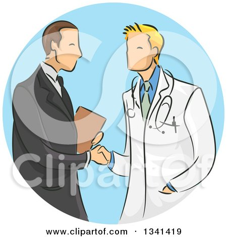Clipart of a Sketched White Male Doctor Shaking Hands with a Medical Sales Representative over a Blue Circle - Royalty Free Vector Illustration by BNP Design Studio