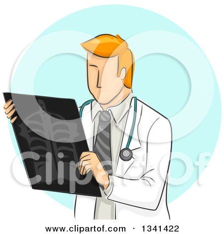 Clipart of a Sketched Red Haired White Male Radiologist Doctor Holding an Xray over a Blue Circle - Royalty Free Vector Illustration by BNP Design Studio