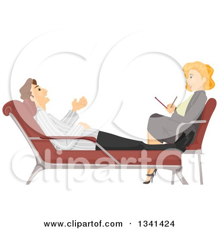 Clipart of a Red Haired White Female Therapist Talking to a Patient - Royalty Free Vector Illustration by BNP Design Studio