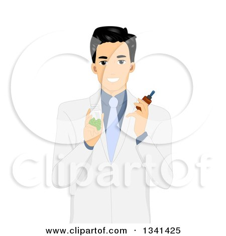 Clipart of an Asian Male Doctor Holding Pill and Tincture Bottles - Royalty Free Vector Illustration by BNP Design Studio