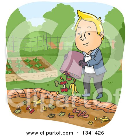 Clipart of a Cartoon Blond White Man Dumping Food Scraps in a Garden Compost Pit - Royalty Free Vector Illustration by BNP Design Studio