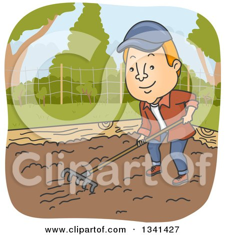 Clipart of a Cartoon Red Haired White Man Raking Soil in a Garden Bed - Royalty Free Vector Illustration by BNP Design Studio