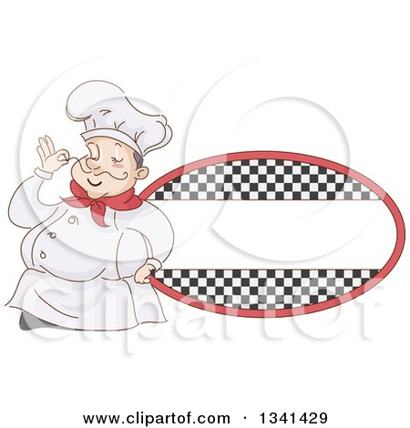 Clipart of a Sketched Chubby White Male Chef Touching the Tip of His Mustache by a Checkered Oval Label - Royalty Free Vector Illustration by BNP Design Studio