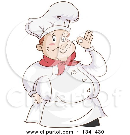 Clipart of a Sketched Chubby White Male Chef Touching the Tip of His Mustache - Royalty Free Vector Illustration by BNP Design Studio