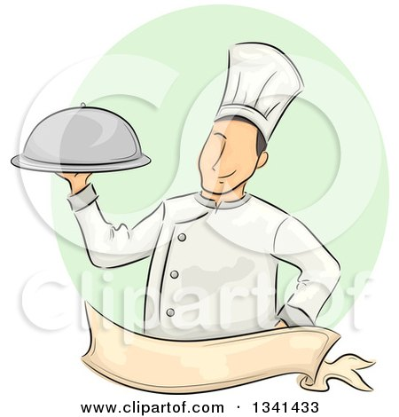 Clipart of a Sketched White Male Chef Holding a Cloche Platter over a Blank Ribbon Banner and Purple Oval - Royalty Free Vector Illustration by BNP Design Studio