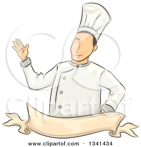 Clipart of a Sketched White Male Chef Waving over a Blank Ribbon Banner - Royalty Free Vector Illustration by BNP Design Studio