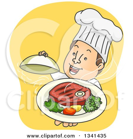 Clipart of a Cartoon Happy White Male Chef Holding up a Steak Meal - Royalty Free Vector Illustration by BNP Design Studio