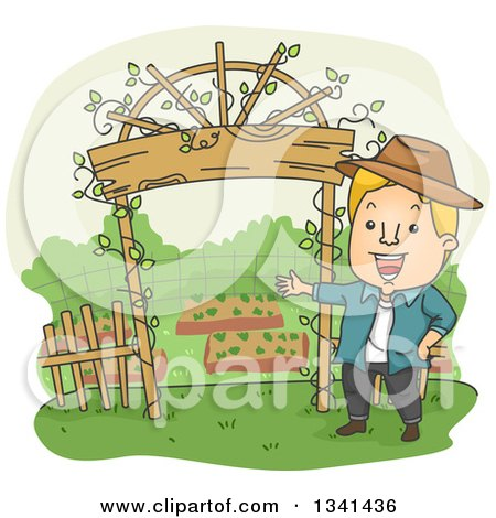 Clipart of a Cartoon Blond White Man Welcoming by His Garden Entrance Arch - Royalty Free Vector Illustration by BNP Design Studio