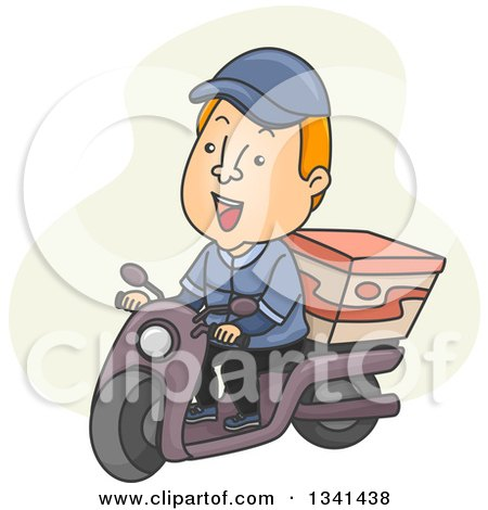 Clipart of a Cartoon White Male Food Delivery Man with a Box on His Scooter - Royalty Free Vector Illustration by BNP Design Studio