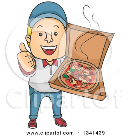 Clipart of a Cartoon White Male Pizza Delivery Man Giving a Thumb up and Holding an Open Box - Royalty Free Vector Illustration by BNP Design Studio