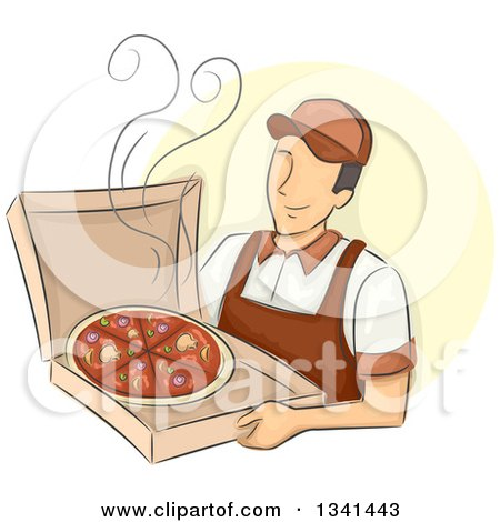 Clipart of a Sketched Happy White Male Pizza Delivery Man Holding a Hot Box - Royalty Free Vector Illustration by BNP Design Studio