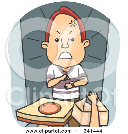 Clipart of an Irate Cartoon White Male Customer Receiving a Late Pizza Delivery Order - Royalty Free Vector Illustration by BNP Design Studio