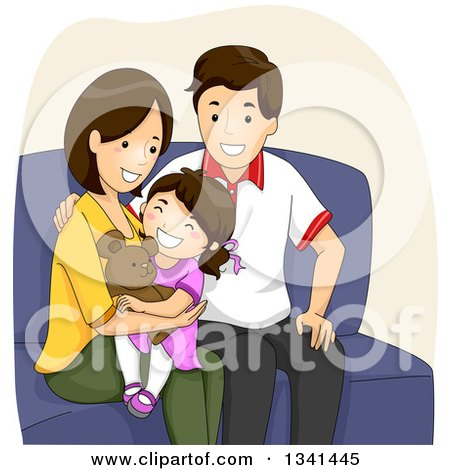 Clipart of Happy Caucasian Parents Cuddling with Their Daughter on a Sofa - Royalty Free Vector Illustration by BNP Design Studio