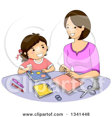 Clipart of a Brunette Caucasian Mother and Daughter Making Books Together - Royalty Free Vector Illustration by BNP Design Studio