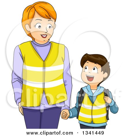 Clipart of a Caucasian Mother Holding Hands with Her Son and Wearing Vests While Walking to the Bus Stop - Royalty Free Vector Illustration by BNP Design Studio