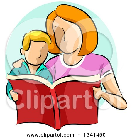 Clipart of a Sketched Caucasian Mother Reading a Book to Her Son - Royalty Free Vector Illustration by BNP Design Studio