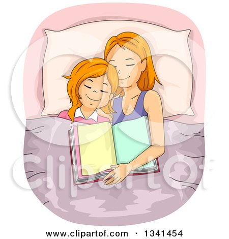 Clipart of a Red Haired Caucasian Mother and Daughter Asleep After Reading a Bedtime Story - Royalty Free Vector Illustration by BNP Design Studio