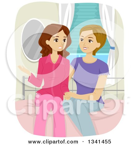 Clipart of a Nurtuting Caucasian Mother Sitting on Her Daughter's Bed and Discussing Teenage Issues - Royalty Free Vector Illustration by BNP Design Studio