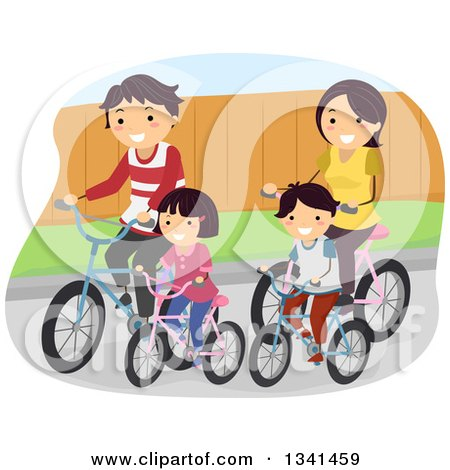 Clipart of a Happy Caucasian Family Riding Bikes Together - Royalty Free Vector Illustration by BNP Design Studio