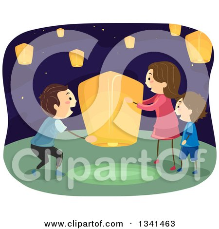 Clipart of a Happy Caucasian Family Setting up a Floating Lantern - Royalty Free Vector Illustration by BNP Design Studio