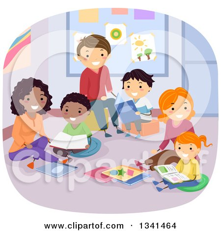 Clipart of Happy Families Reading Books in a Library or Class Room - Royalty Free Vector Illustration by BNP Design Studio
