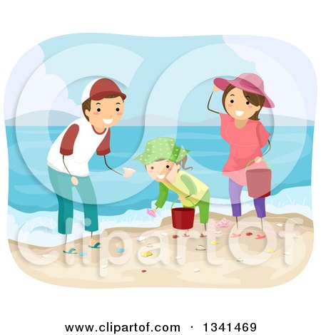 Clipart of a Happy Caucasian Family Collecting Sea Shells on a Beach - Royalty Free Vector Illustration by BNP Design Studio
