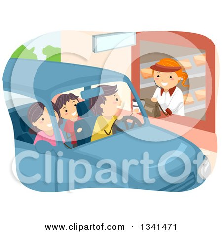 Clipart of a Caucasian Family Going Through a Restaurant Drive Thru - Royalty Free Vector Illustration by BNP Design Studio