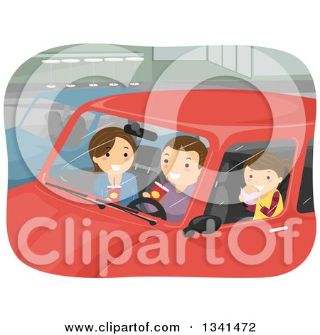 Clipart of a Caucasian Family Eating Take out Food in Their Car - Royalty Free Vector Illustration by BNP Design Studio