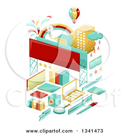 Clipart of School Items Forming a City with a Hot Air Balloon and Billboards - Royalty Free Vector Illustration by BNP Design Studio
