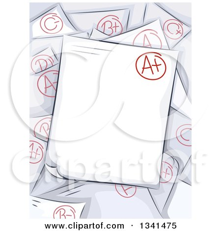 Clipart of Sketched Graded Papers with an a Plus on Top - Royalty Free Vector Illustration by BNP Design Studio