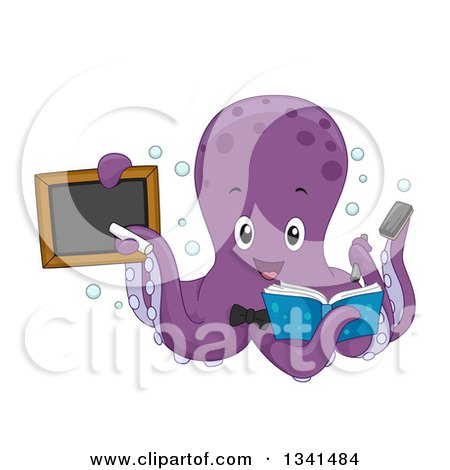 Clipart of a Cartoon Purple Octopus Teacher Holding a Book and Black Board - Royalty Free Vector Illustration by BNP Design Studio