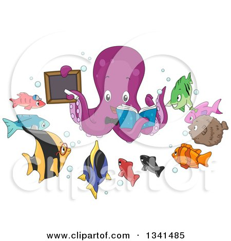 Clipart of a Cartoon Purple Octopus Teacher Holding a Book and Black Board, Encircled with Fish Students - Royalty Free Vector Illustration by BNP Design Studio
