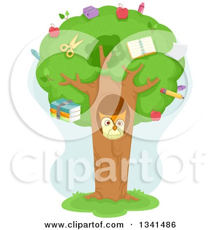 Cartoon Owl in a Tree Hollow, with School Supplies in the Canopy Posters, Art Prints