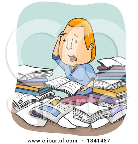 Clipart of a Cartoon Confused and Stressed Red Haired White Man Going over Books and Paperwork - Royalty Free Vector Illustration by BNP Design Studio