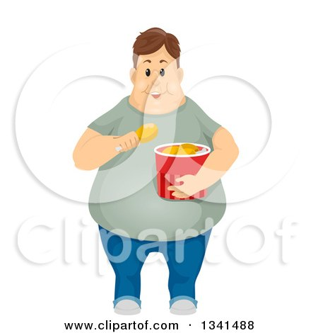 Clipart of a Fat Brunette White Man Eating Fried Chicken - Royalty Free Vector Illustration by BNP Design Studio